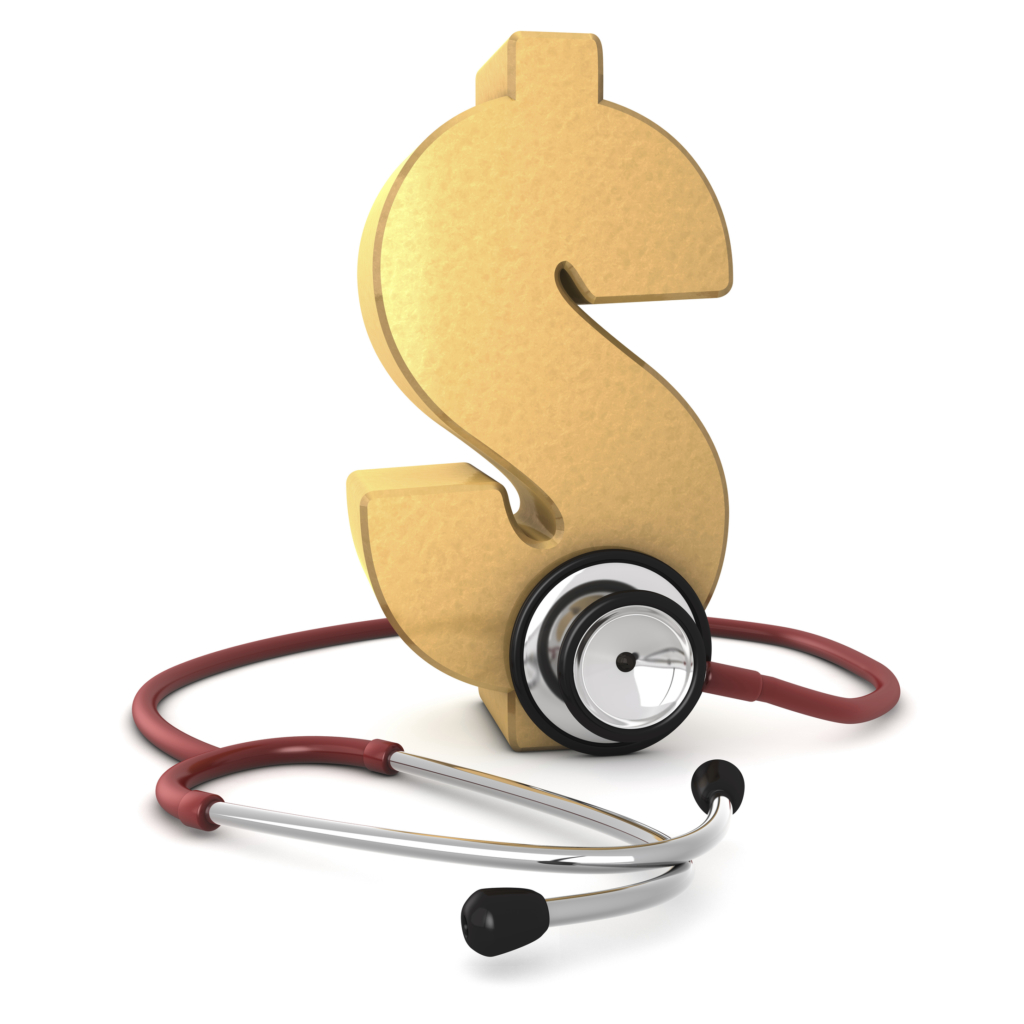 d3d render of a dollar symbol with stethoscope around it isolated on white background.